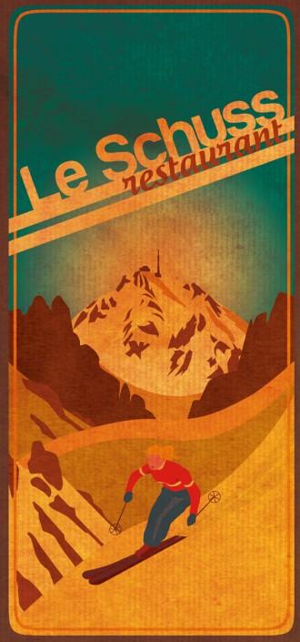 ski dessin vintage la mongie